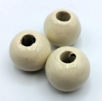 Greek ceramic bead round 16mm - cream